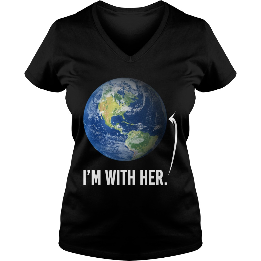 I'm with her shirt for march for science march 2017 ladies v-neck