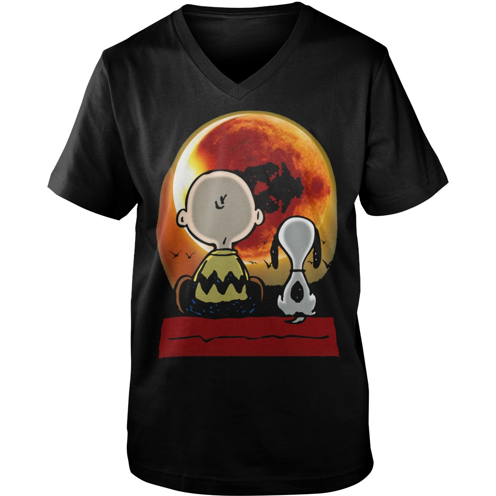 Snoopy and Charlie Brown at Solar Eclipse 2017 Guys v-neck t-shirt
