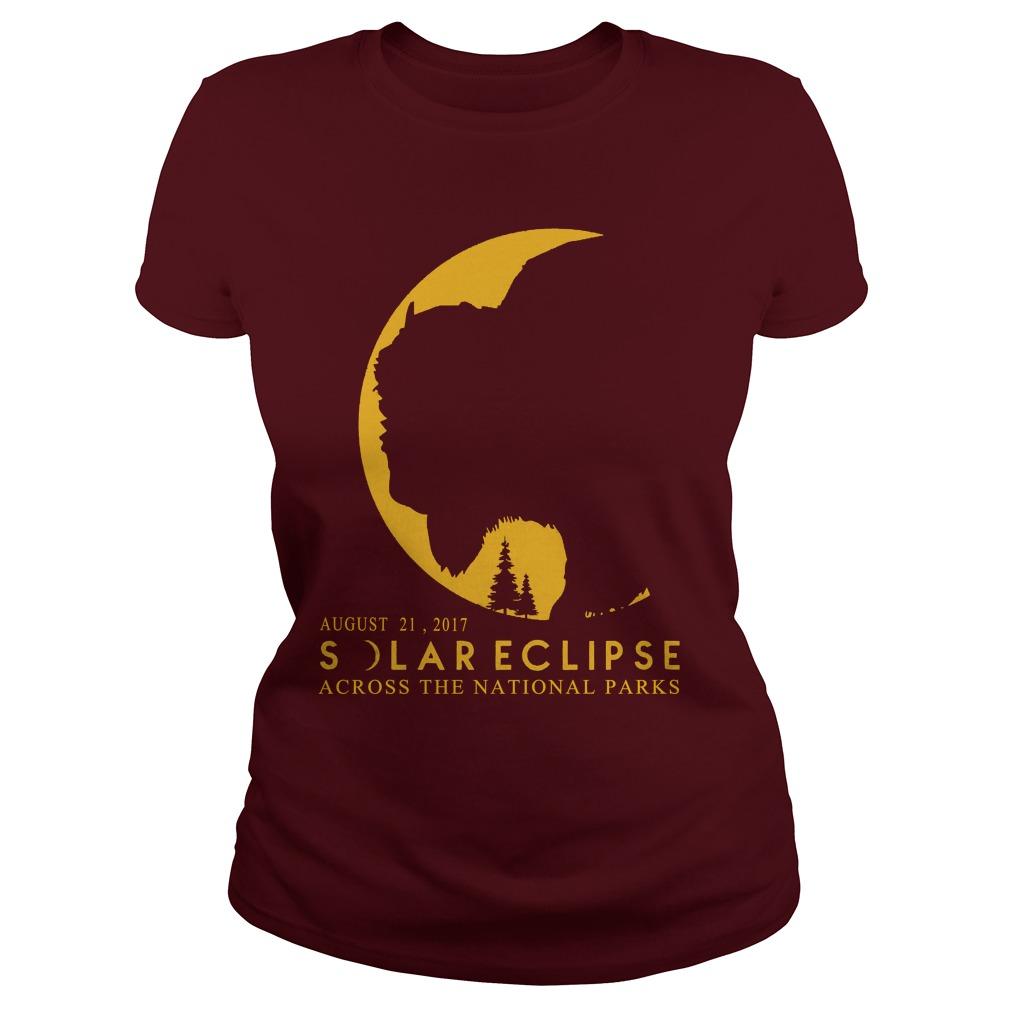 Solar eclipse 2017 across National Parks Ladies t shirt