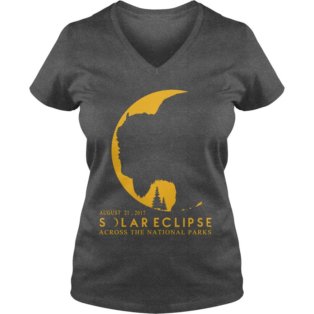 Solar eclipse 2017 across National Parks ladies v-neck t-shirt