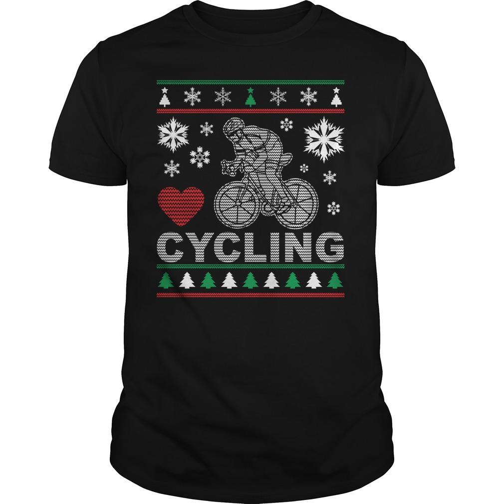Ugly Cycling Christmas Design Guys shirt