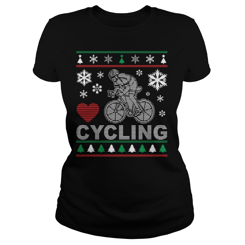 Ugly Cycling Christmas Design Ladies Tee