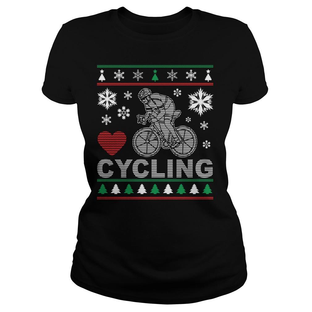Ugly Cycling Christmas Design Ladies Tee