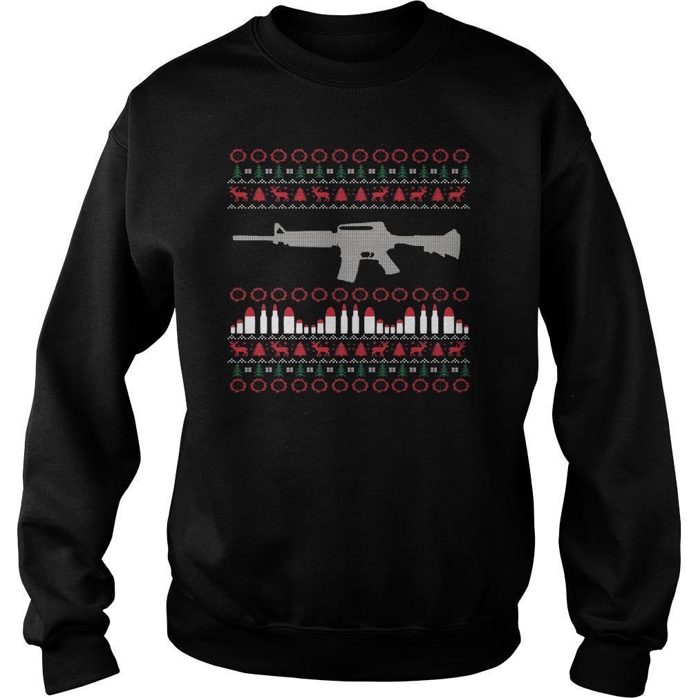 AR15 Machine Gun Ugly Christmas sweater