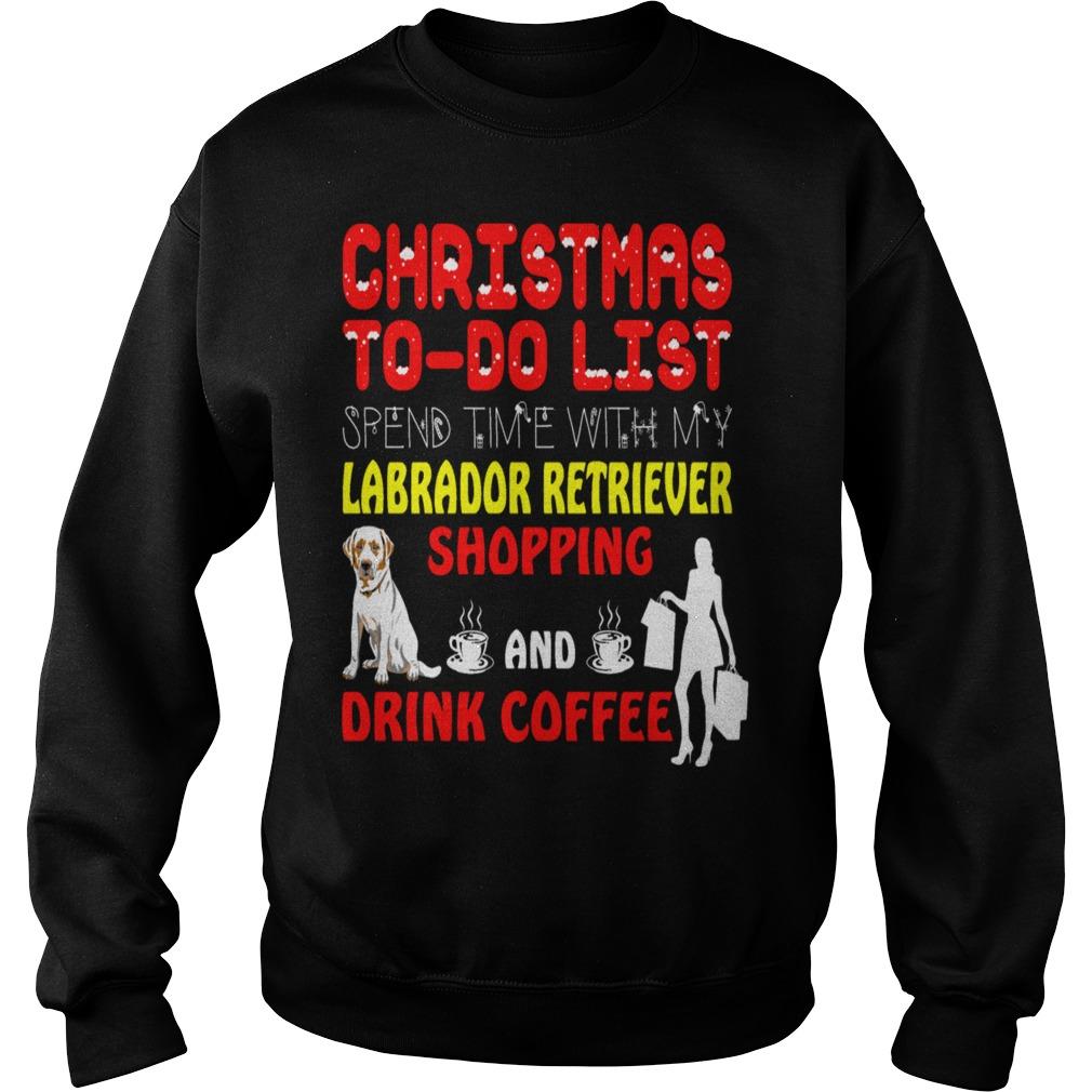 Christmas labrador retriever shopping coffee ugly sweater