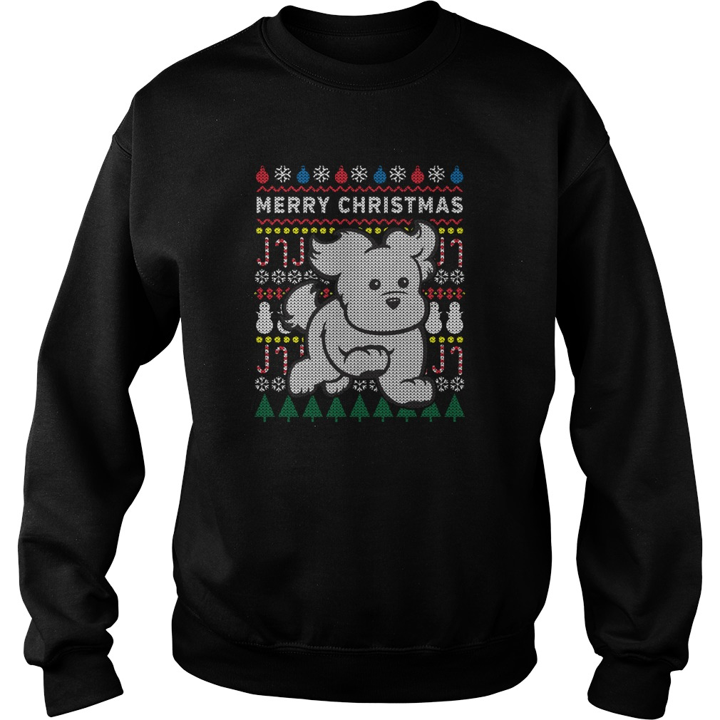 Cute White Puppy Ugly Christmas sweater