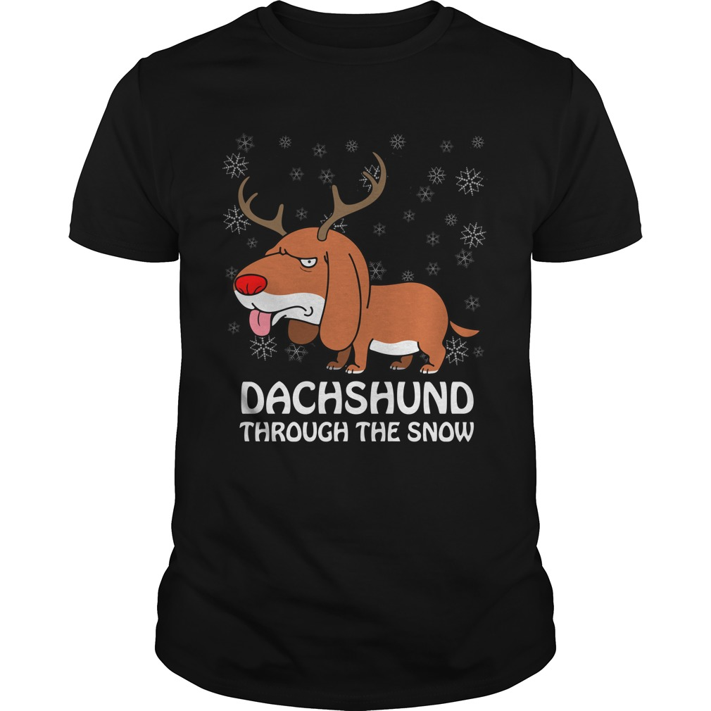 Funny Dachshund dashing through snow christmas Pun T-shirt