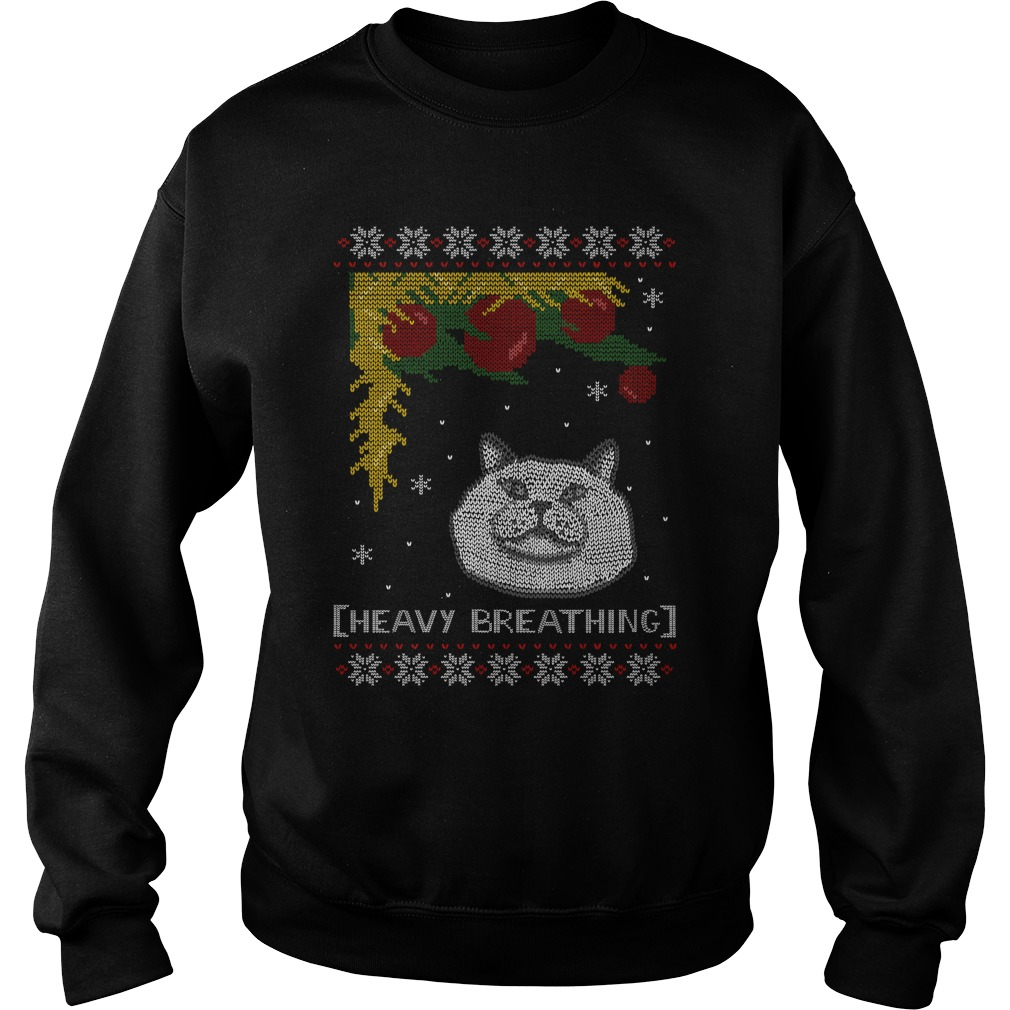 Heavy breathing - Cat ugly christmas sweater