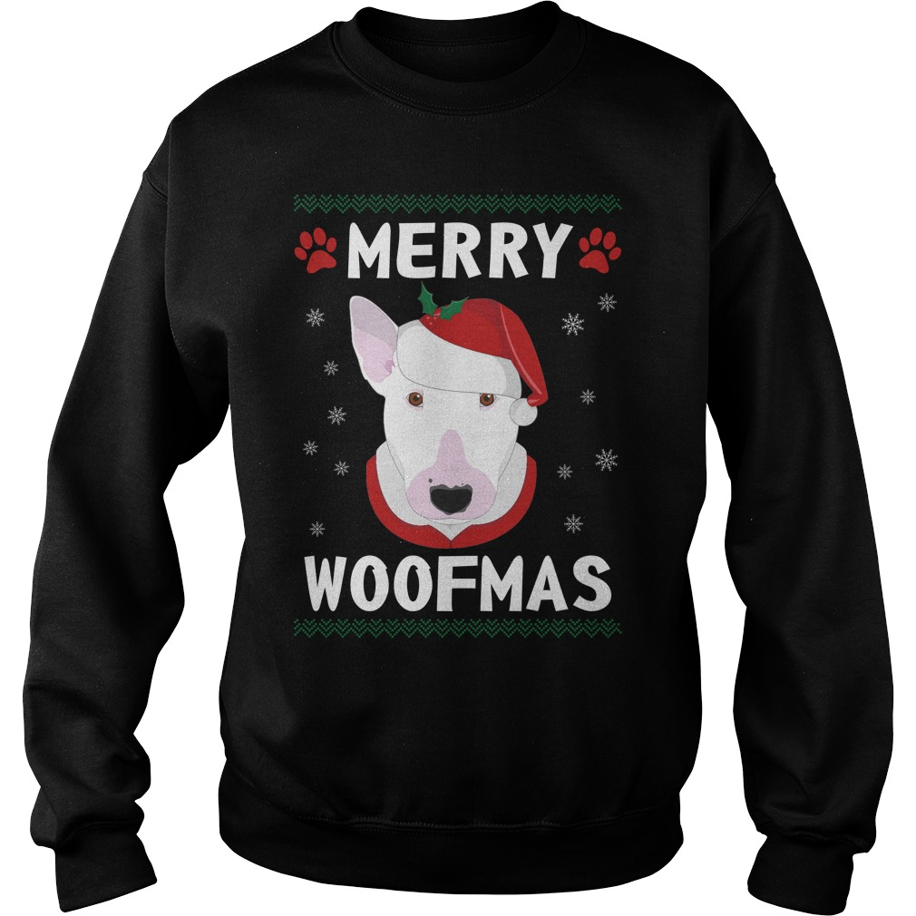 Merry Bull Terrier woofmas Santa Dog ugly christmas sweater