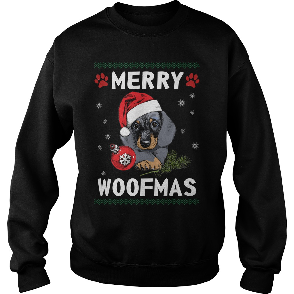 Merry Dachshund woofmas Santa Dog ugly christmas sweater