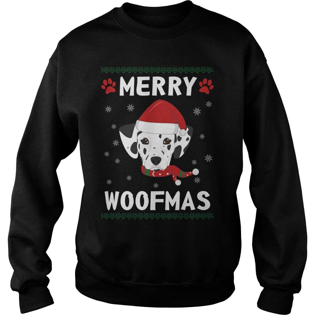 Merry Dalmatian Woofmas Santa Dog ugly Christmas sweater