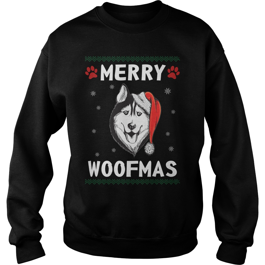 Merry Husky woofmas Santa Dog ugly christmas sweater