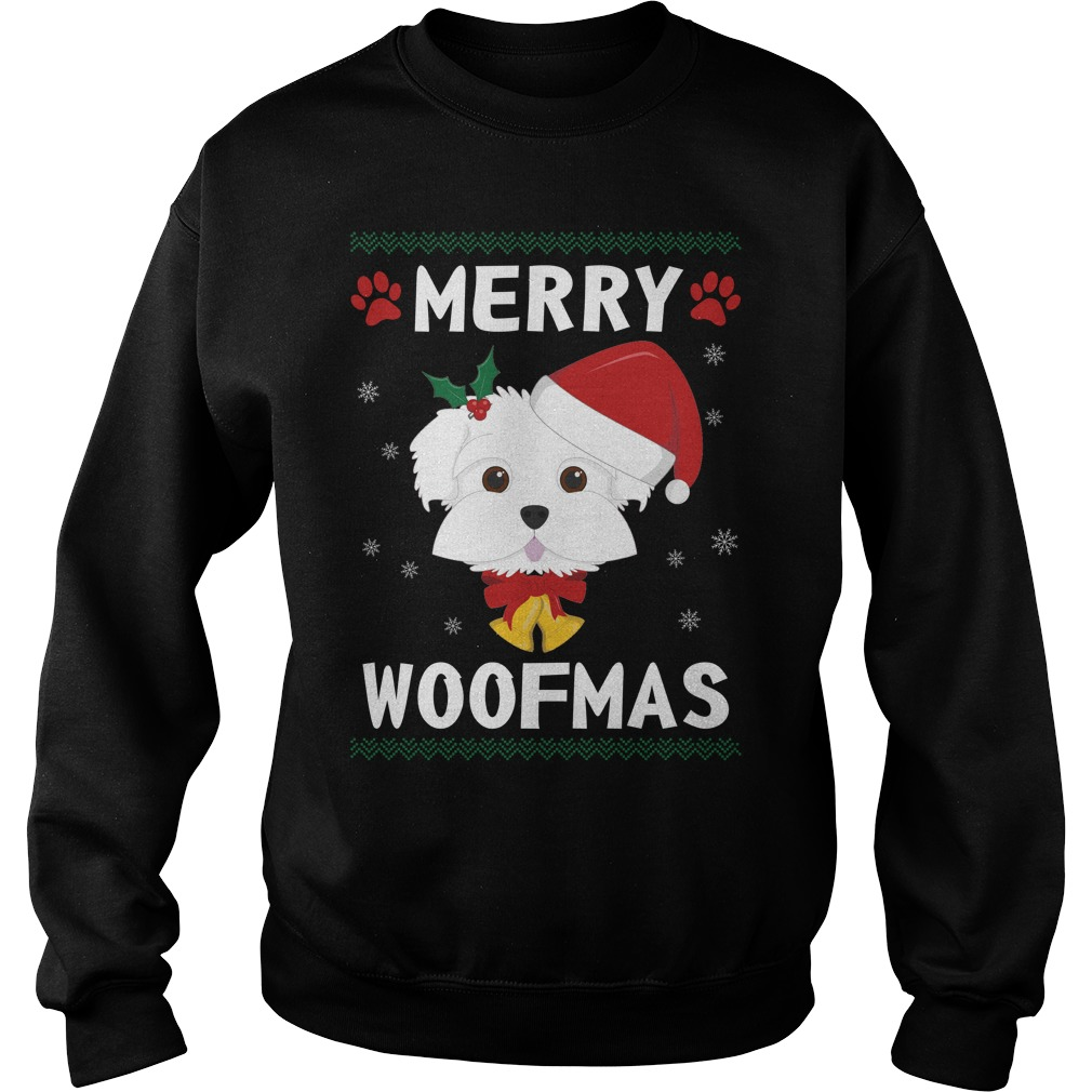 Merry Maltese woofmas Santa Dog ugly christmas sweater