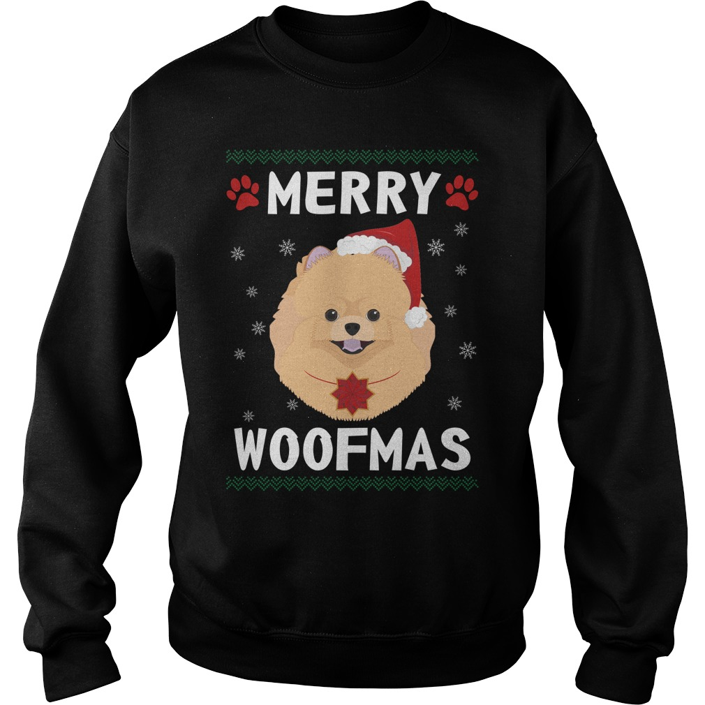 Merry Pomeranian woofmas Santa Dog ugly christmas sweater