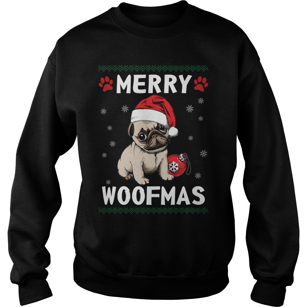 Merry Pug woofmas Santa Dog ugly christmas sweater