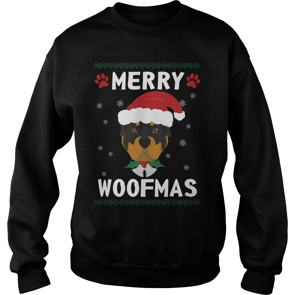 Merry Rottweiler woofmas Santa Dog ugly christmas sweater