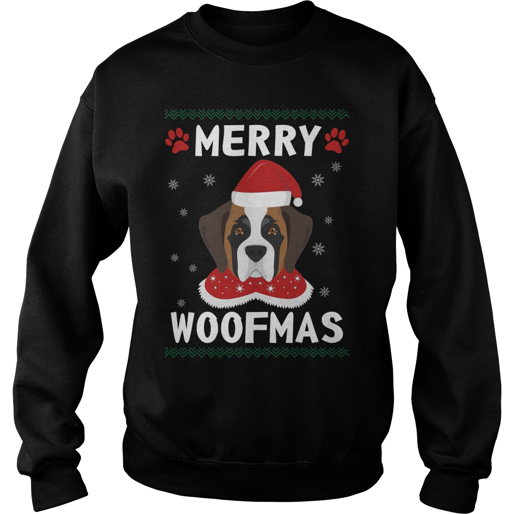 Merry Saint Bernard woofmas Santa Dog ugly christmas sweater
