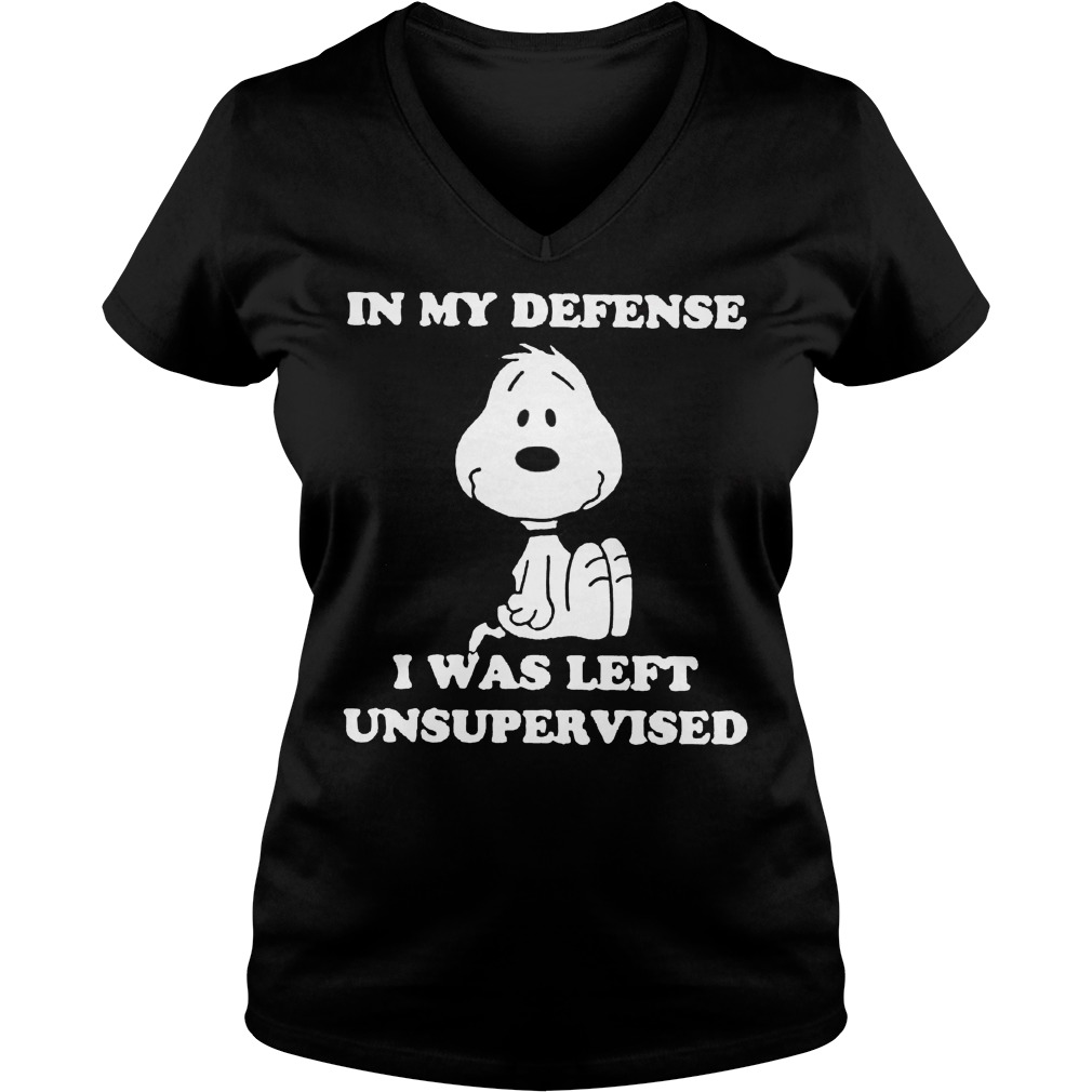 Snoopy In my defense I was left unsupervised V-neck t-shirt