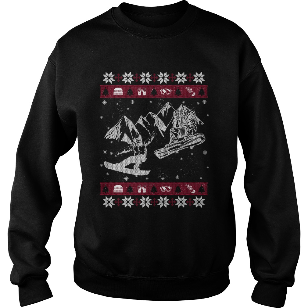 Snowboarding ugly Christmas sweater