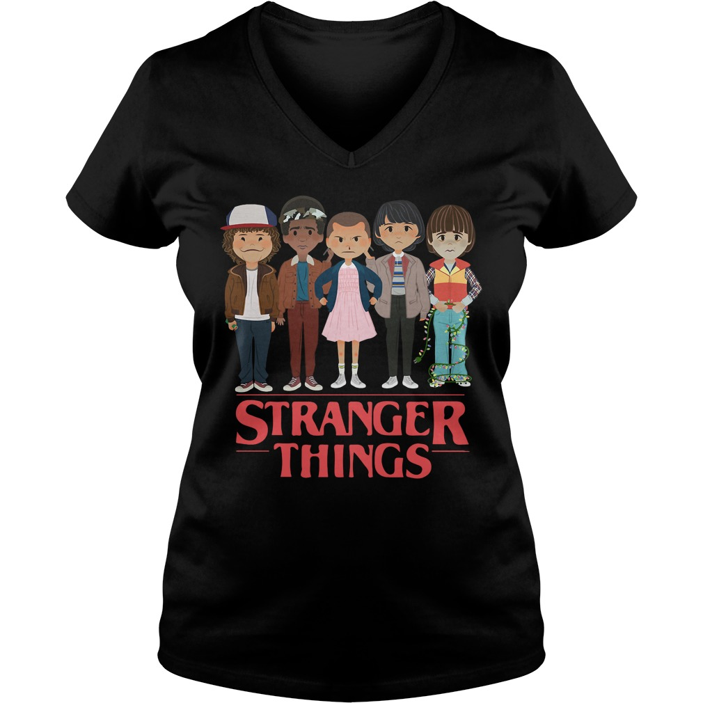 Stranger things Dustin Lucas Eleven Mike and Will V-neck t-shirt