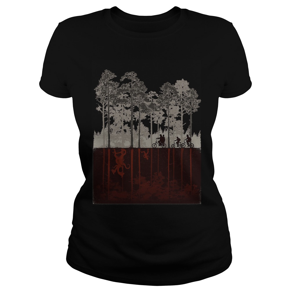 Upside down Demogorgon and Will Stranger Things Ladies tee