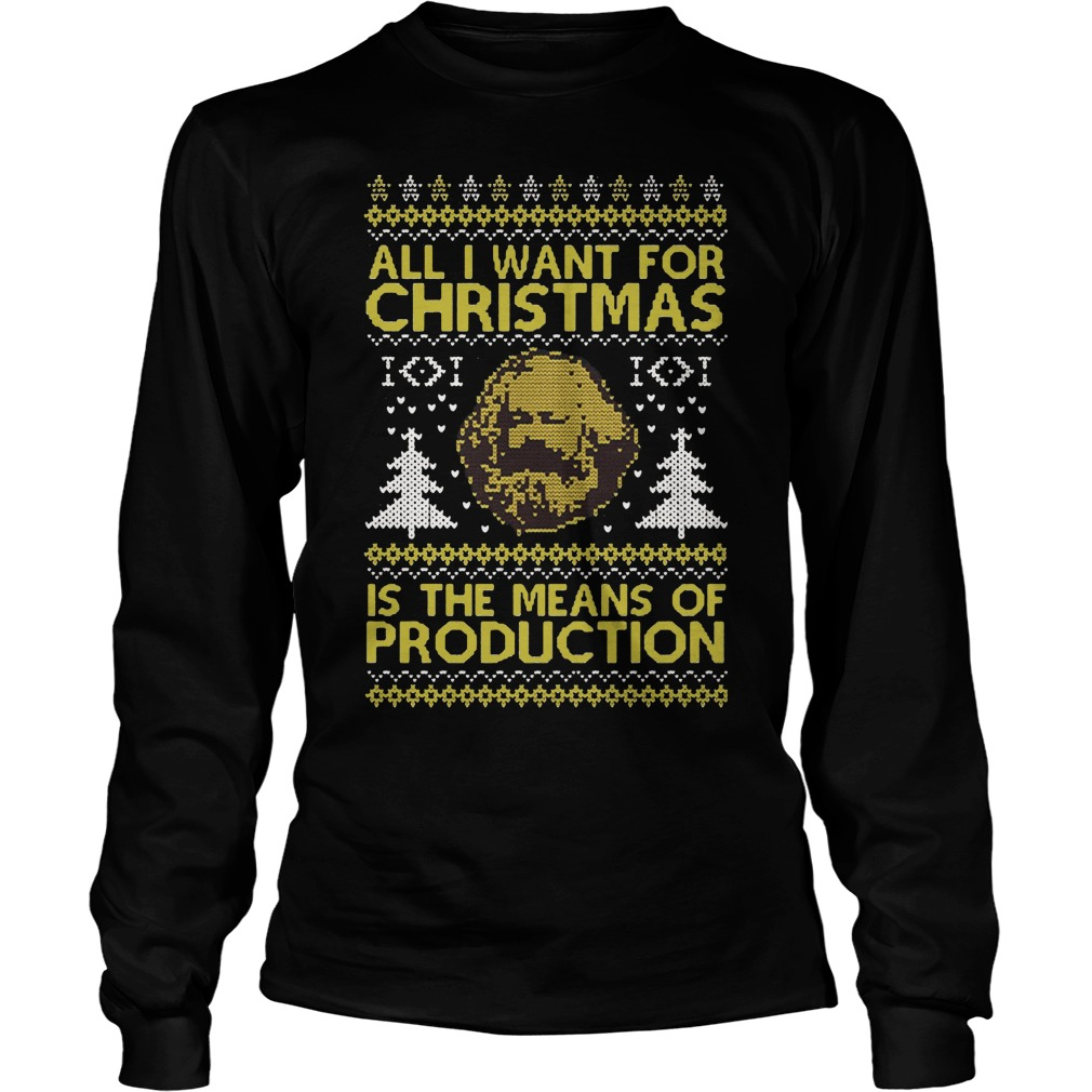 All I want for Christmas is the means of production ugly Christmas Longsleeve tee