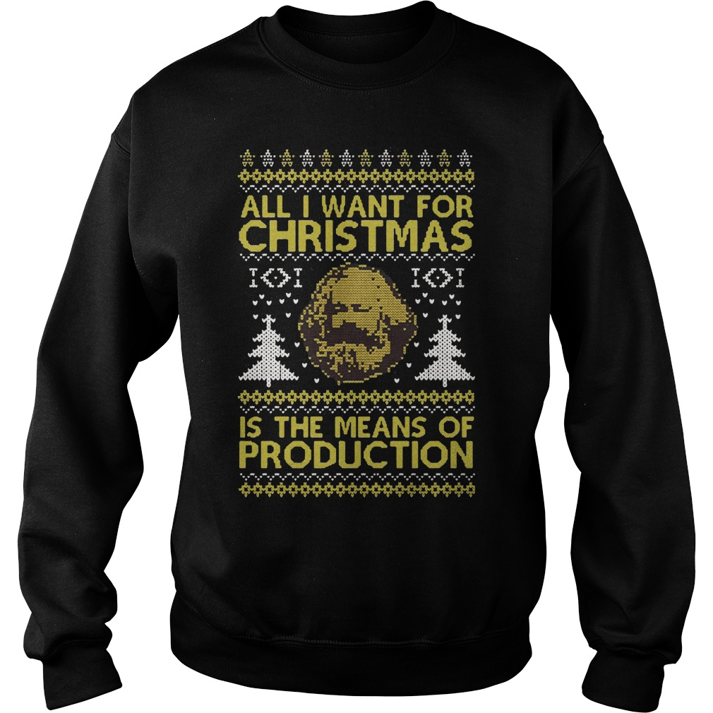 Karl Marx: All I want for Christmas is the means of production ugly Christmas sweater