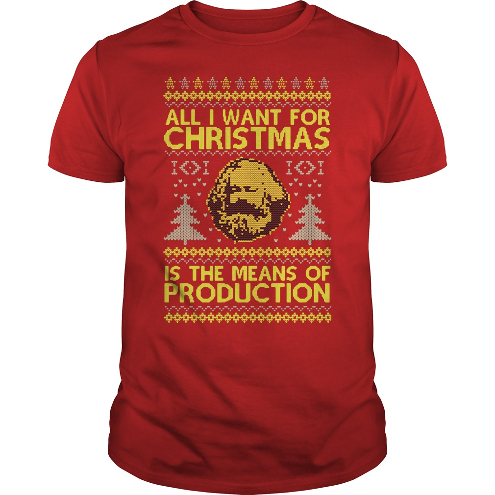 All I want for christmas is the means of production ugly Guys Shirt