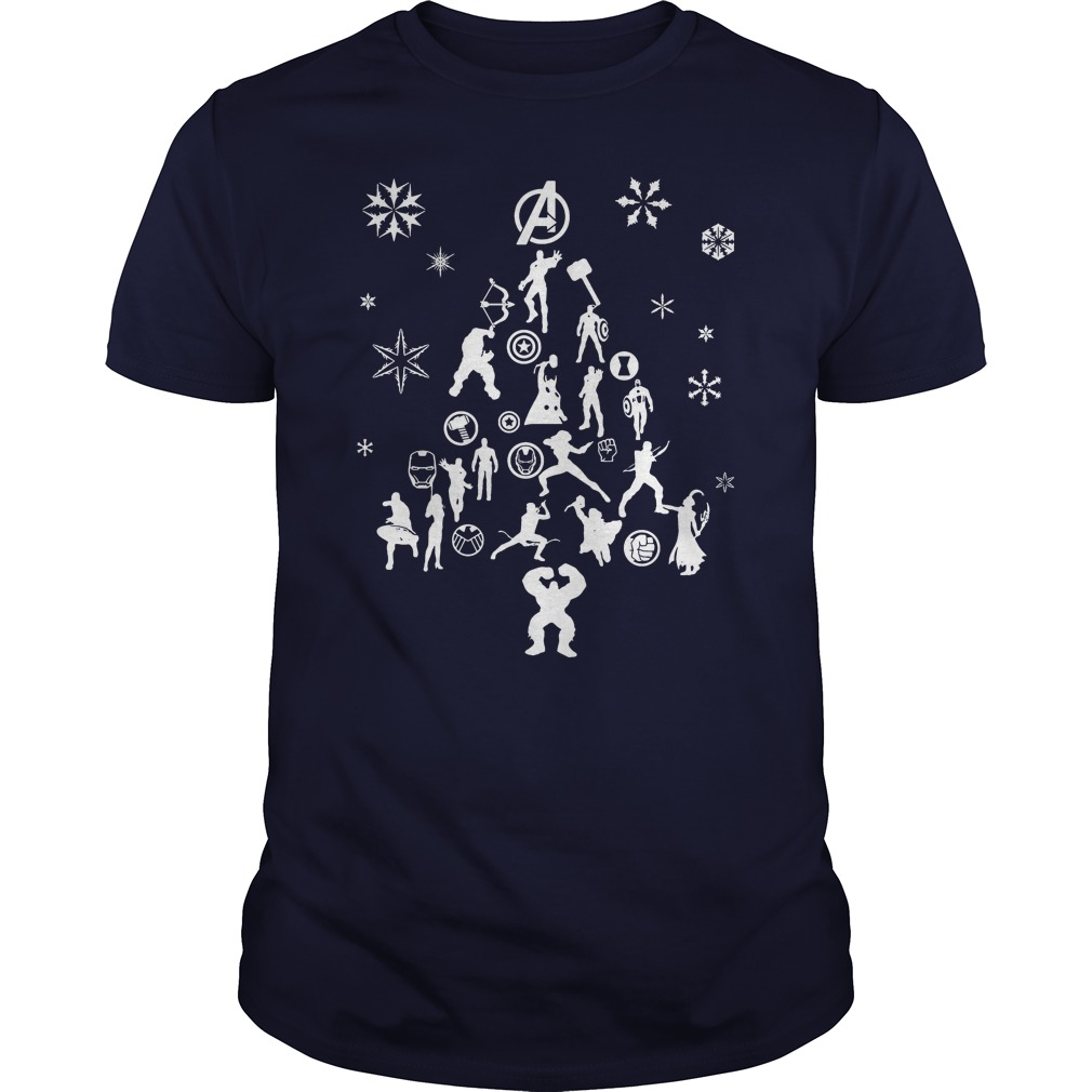 Avengers Christmas tree silhouette white Guys shirt