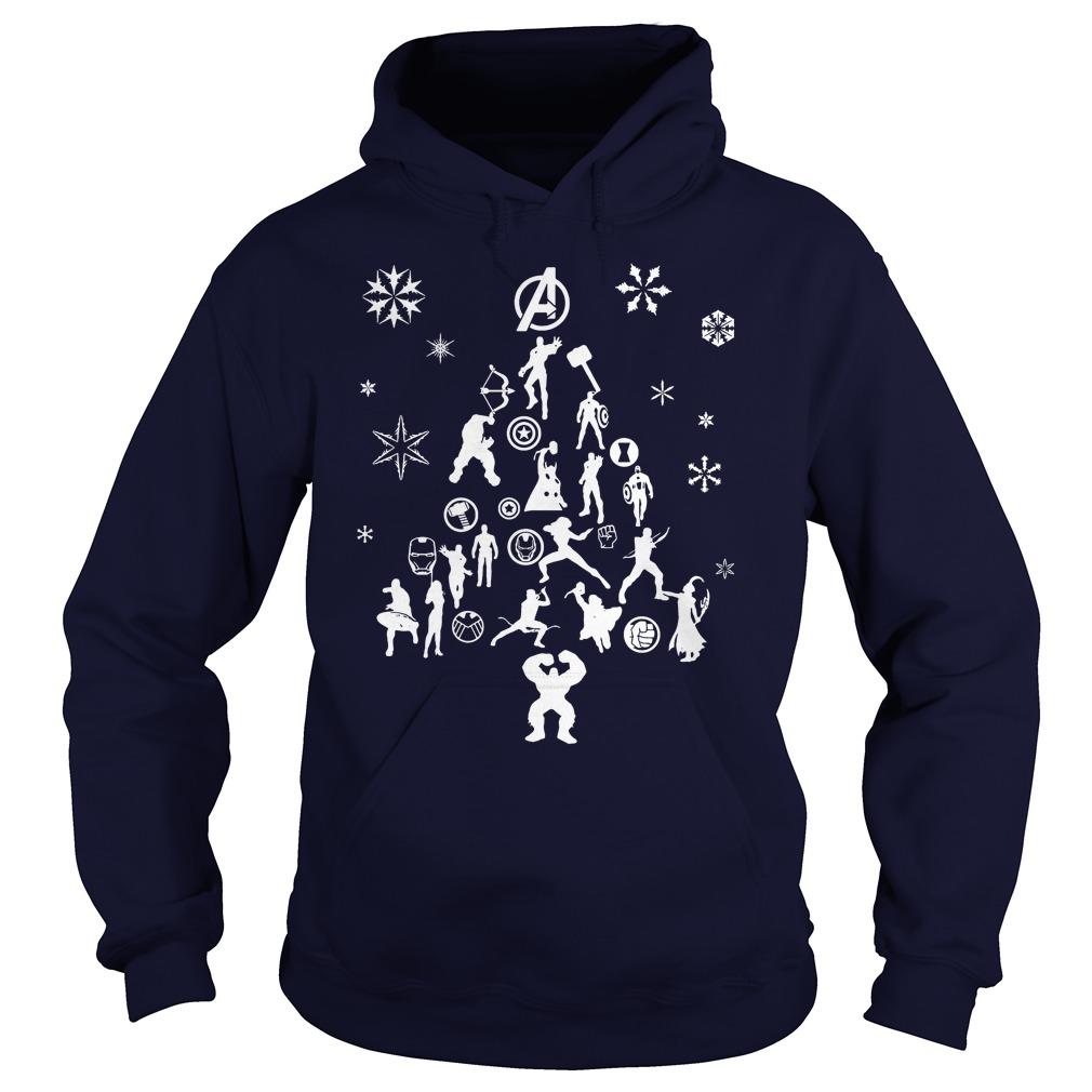 Avengers Christmas tree silhouette white Hoodie