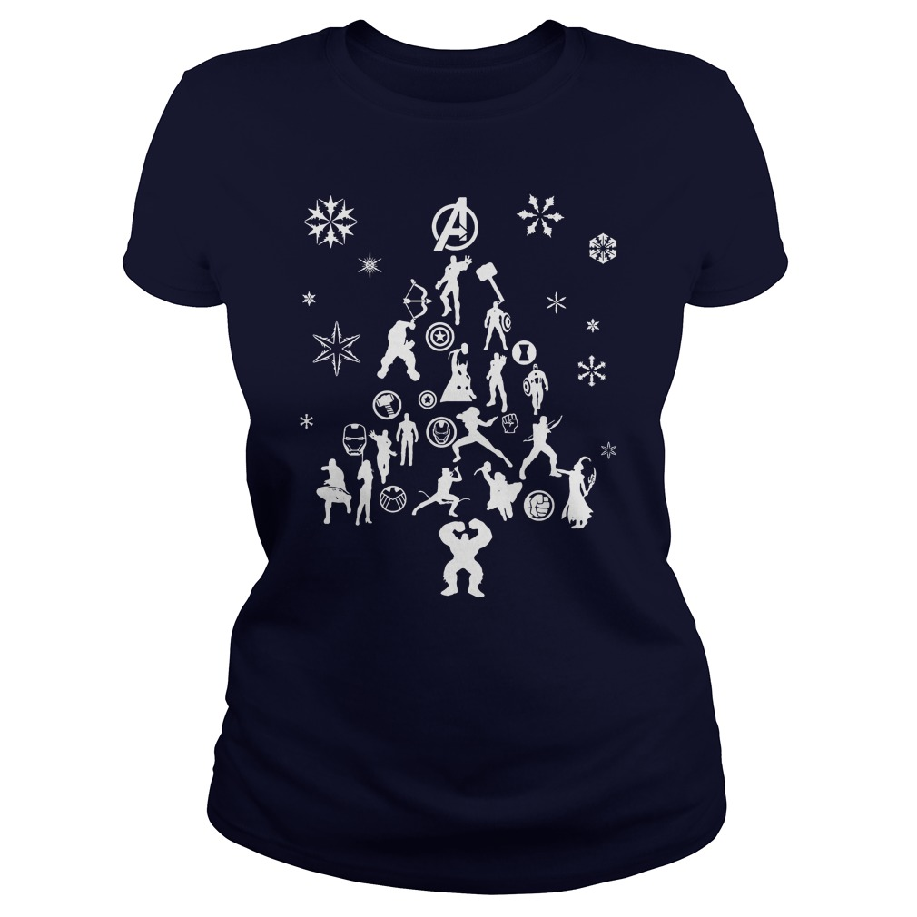 Avengers Christmas tree silhouette white Ladies tee