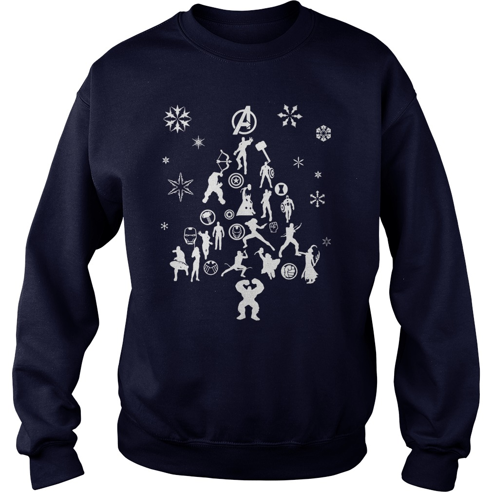 Avengers Christmas tree silhouette white sweater