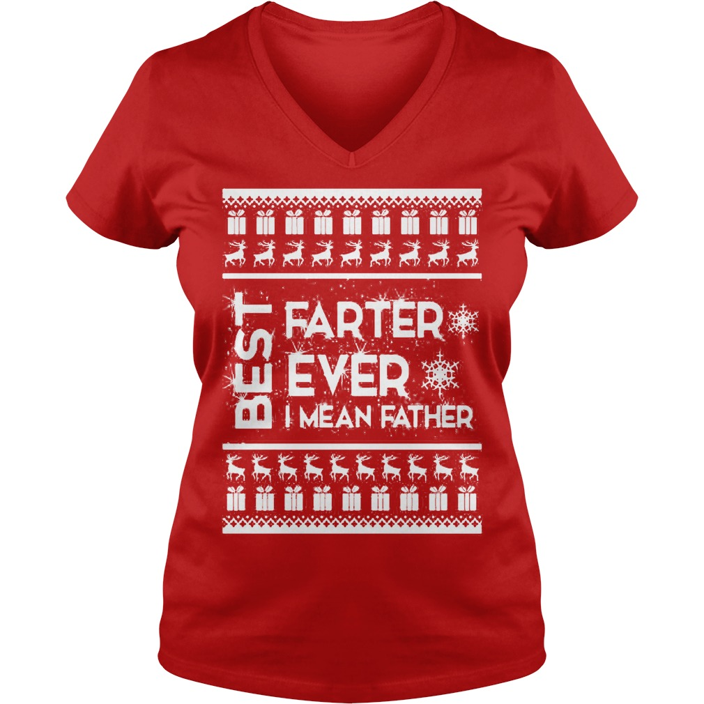 Best farter Christmas ugly V-neck t-shirt