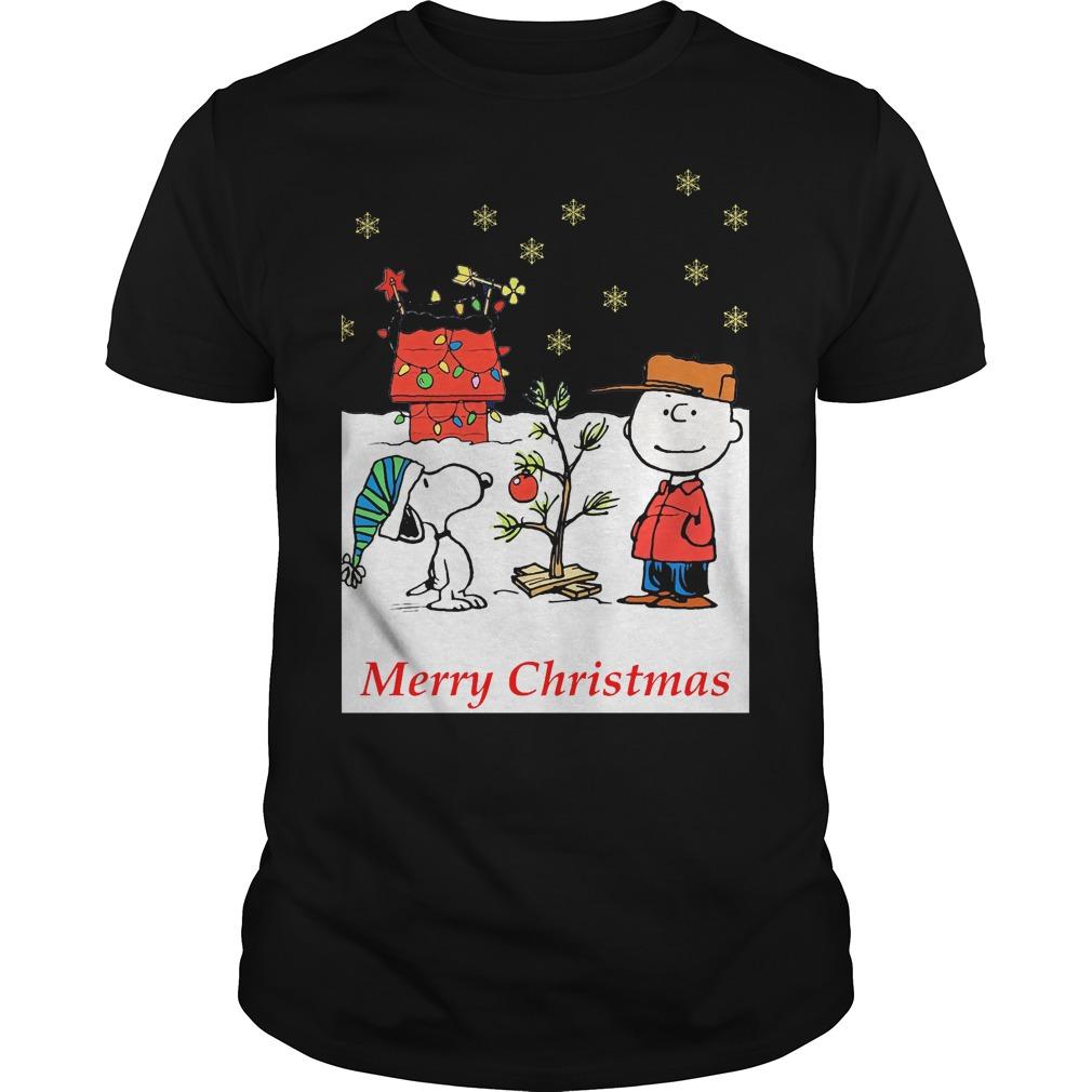 Charlie and Snoopy Christmas tree Guys shirt