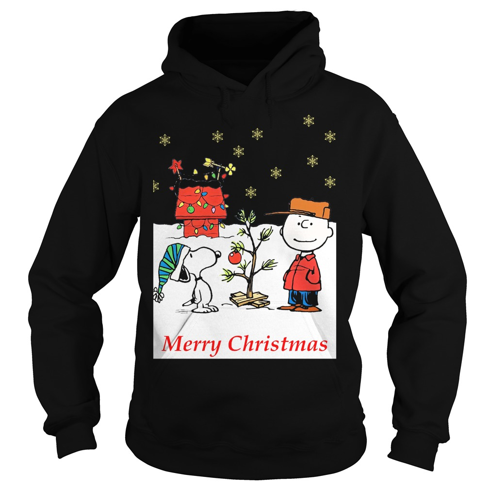 Charlie and Snoopy Christmas tree Hoodie