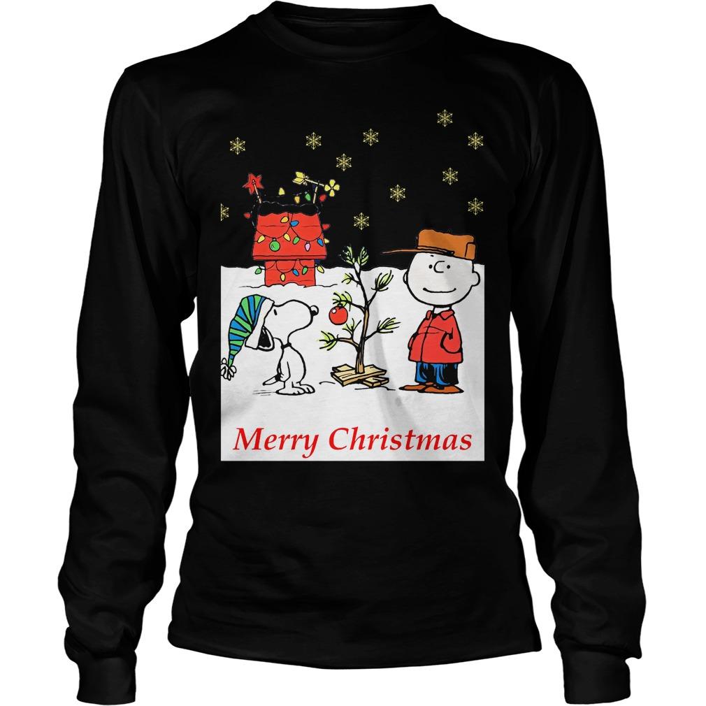 Charlie and Snoopy Christmas tree Longsleeve tee
