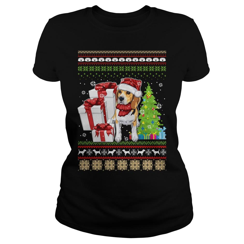 Dogs ugly Christmas Ladies tee