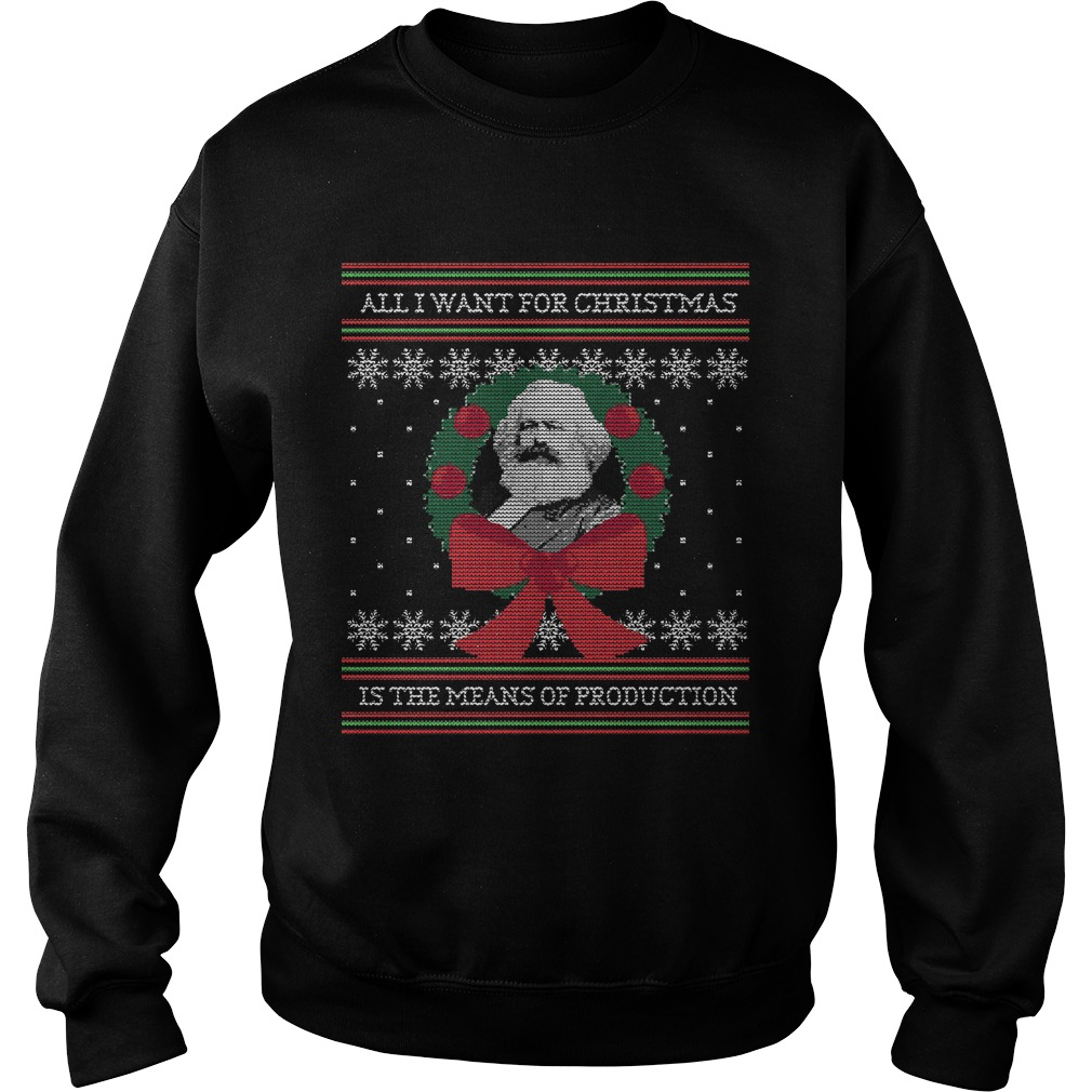 Karl Marx Seize the Means of Production funny ugly Christmas sweater