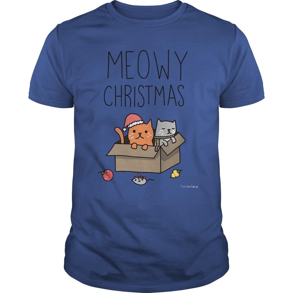 Meowy Christmas Cat holiday pun Guys shirt
