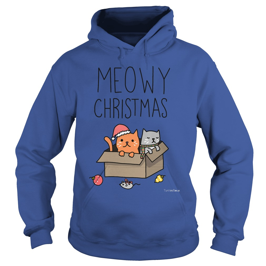 Meowy Christmas Cat holiday pun Hoodie