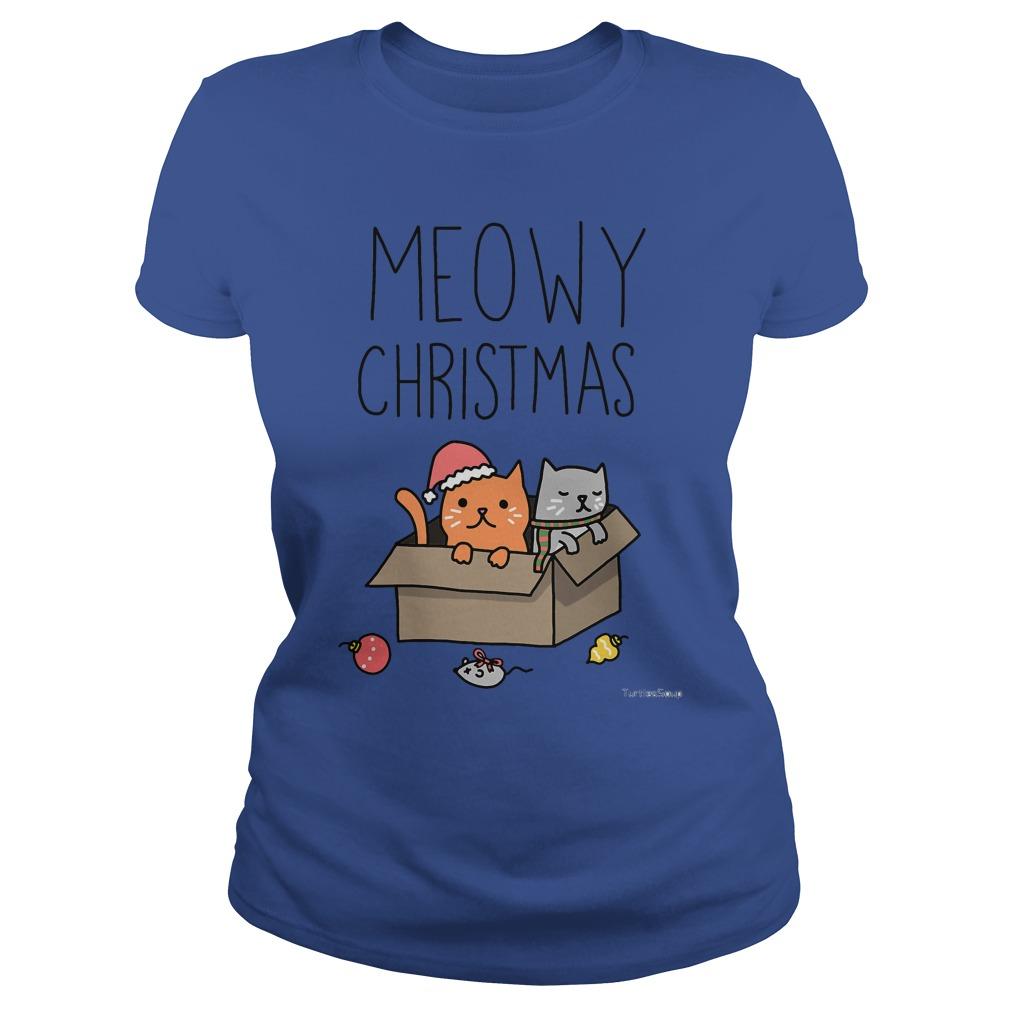 Meowy Christmas Cat holiday pun Ladies tee
