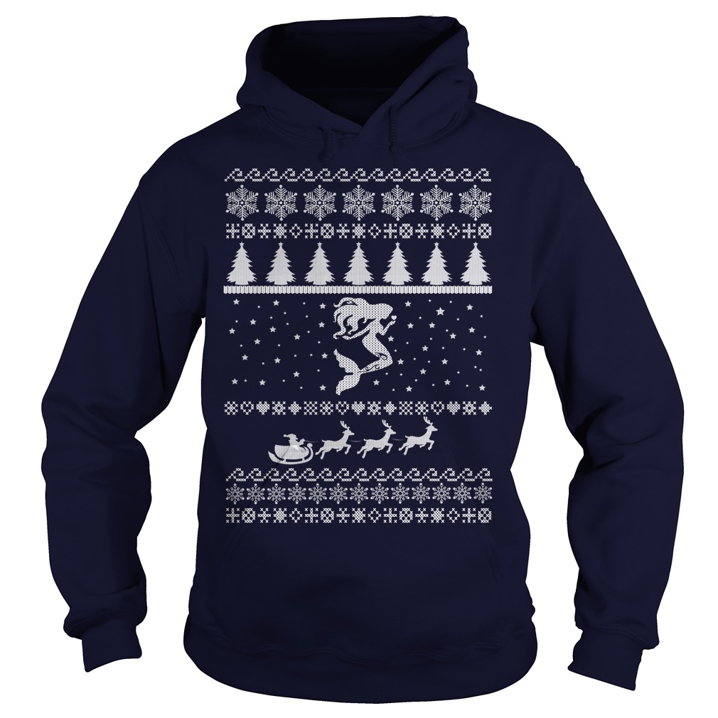 Mermaid ugly christmas Hoodie