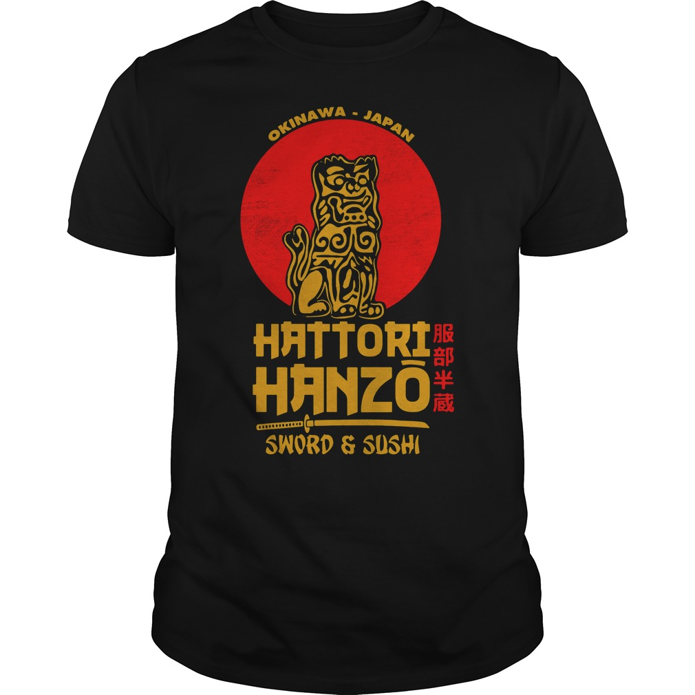 Okinawa Japan Hattori Hanzo sword and sushi shirt