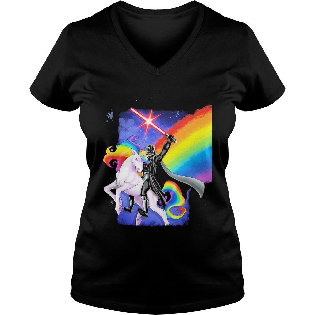 Star Wars: Unicorn and Darth Vader V-neck t-shirt