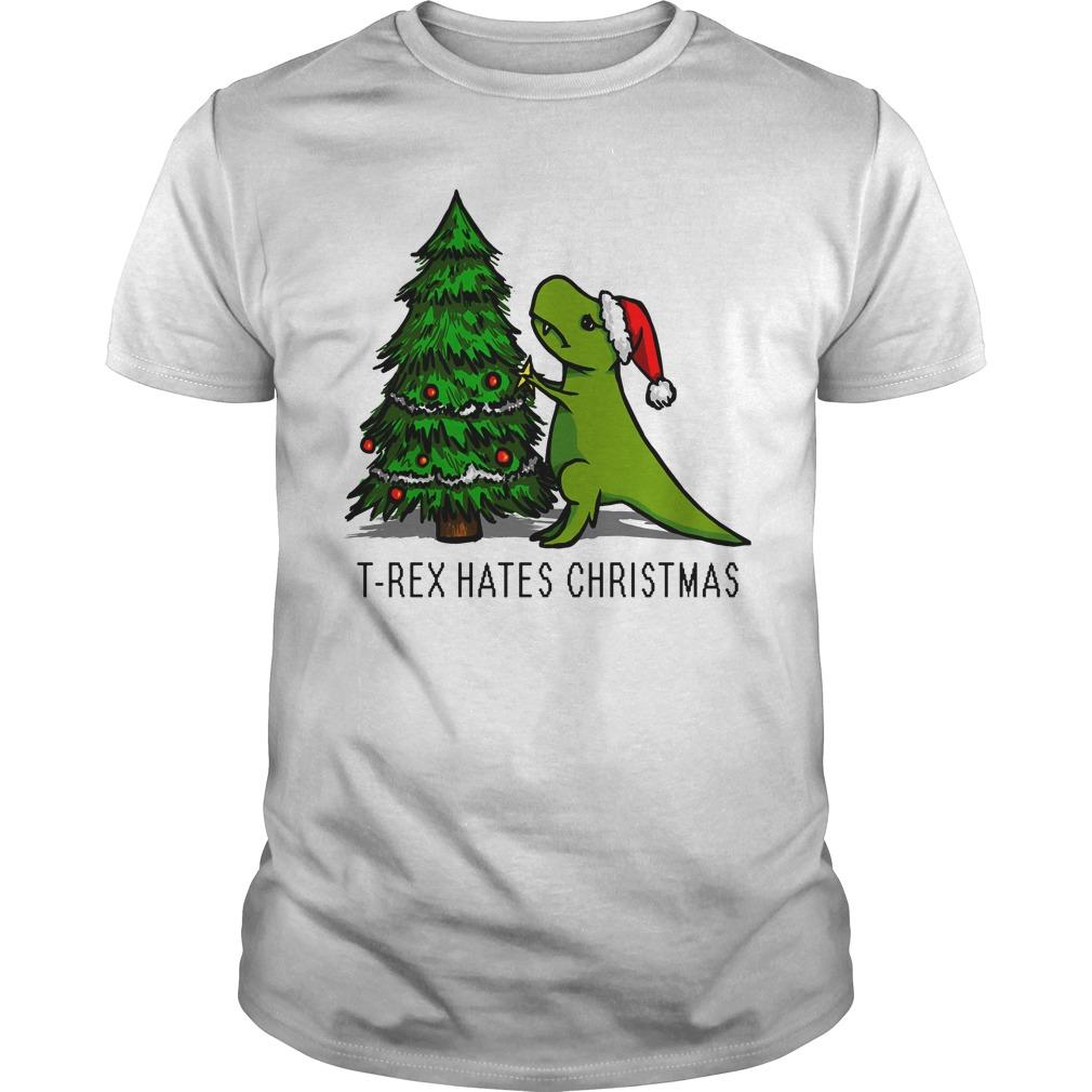 T-Rex Hates Christmas Guys shirt