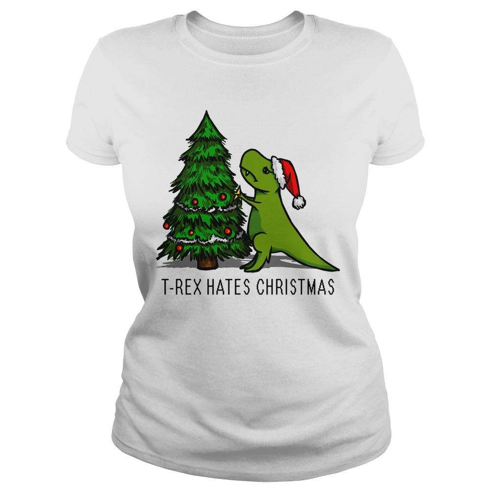 T-Rex Hates Christmas Ladies tee