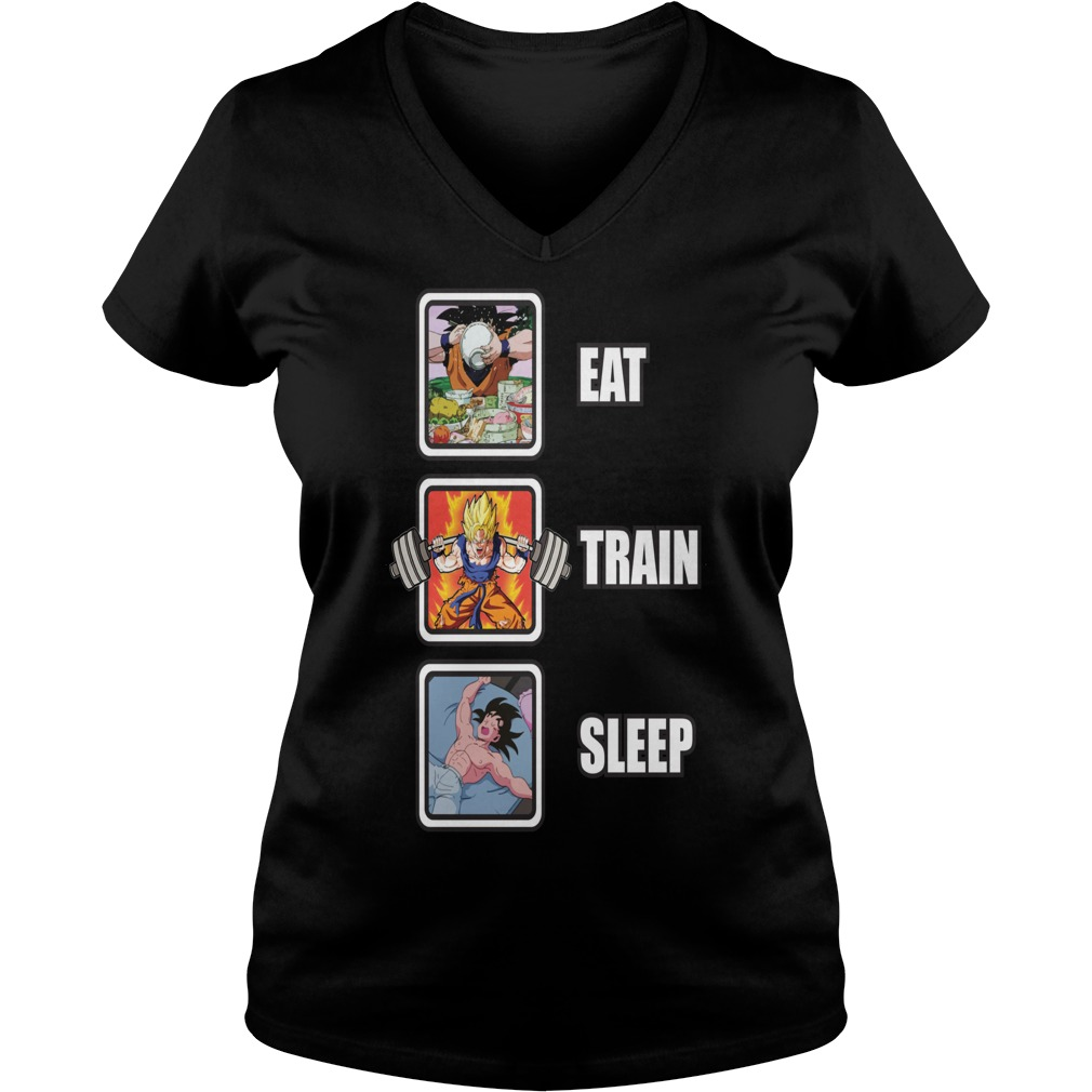 Eat Train Sleep Goku Squat anime manga V-neck t-shirt