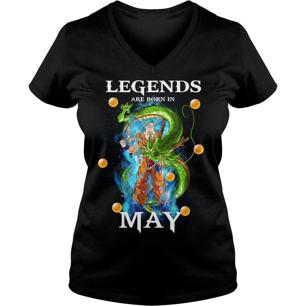 Goku Legends are born in may V-neck t-shirt