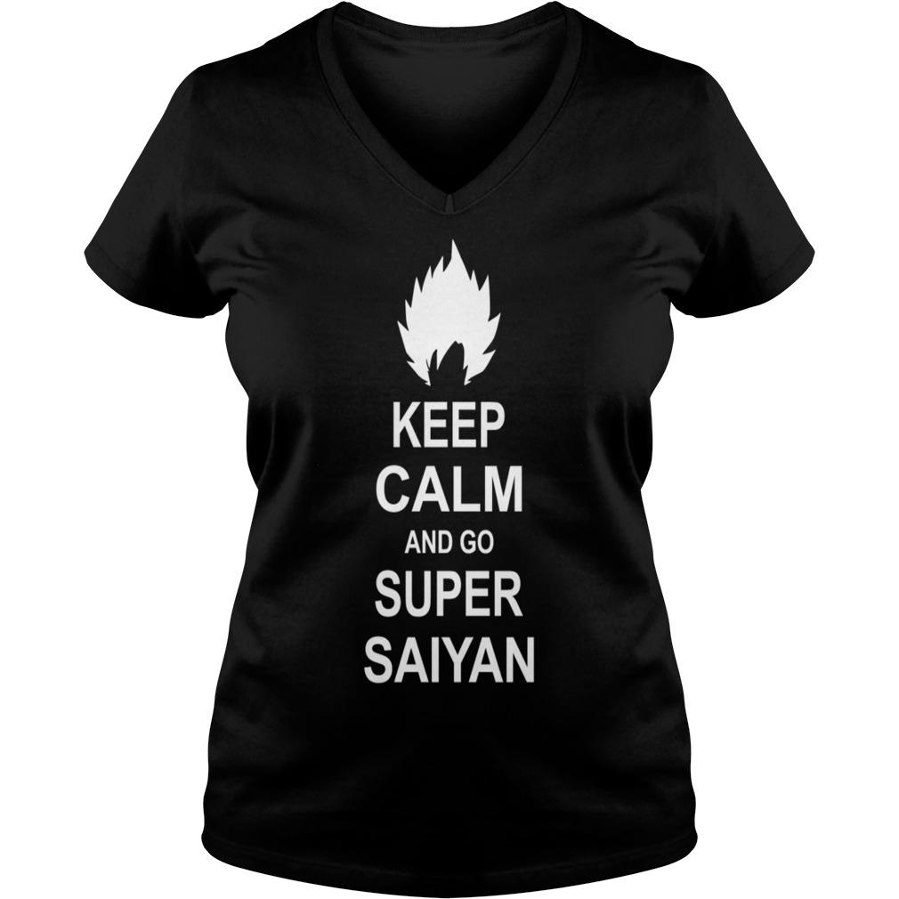 Keep calm and go Super Saiyan Dragon Ball Z Goku V-neck t-shirt