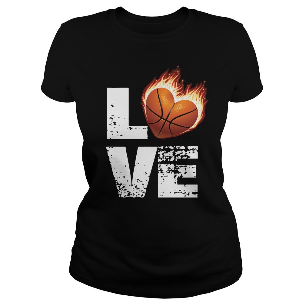 Love basketball heart fire Ladies tee